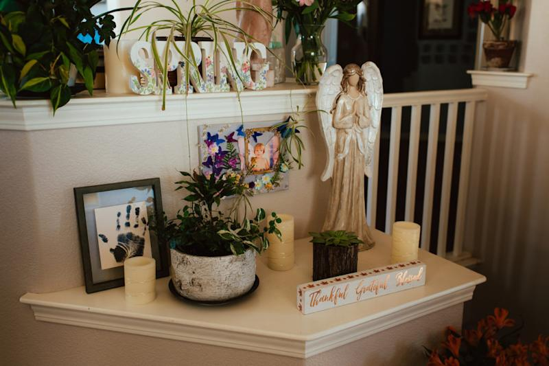 A memorial to Caleb Stenvold, who took his life at age 14, holds a place of honor in his home. (Photo by Lauren Casto for KHN)
