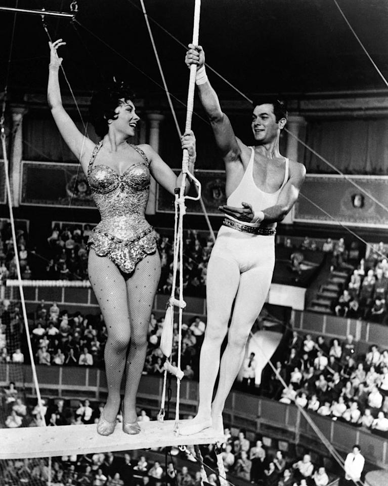 """Tony donned tights for this hugely successful sawdust and tinsel extravaganza. Curtis actually learned how to tumble in part from his co-star, <a href=""""http://movies.yahoo.com/movie/contributor/1800010765"""">Burt Lancaster</a>, who actually worked as a trapeze artist before becoming an actor."""