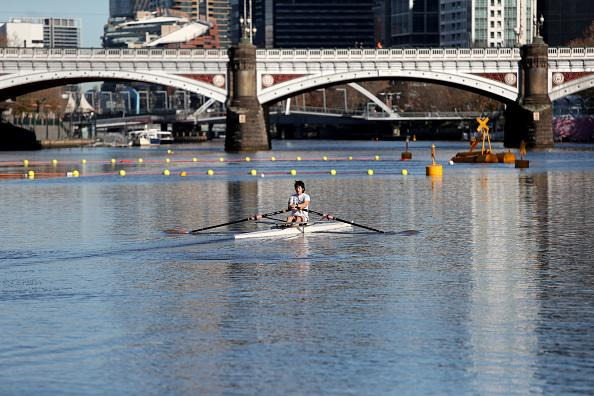 Rowers on the Yarra River in Melbourne CBD.