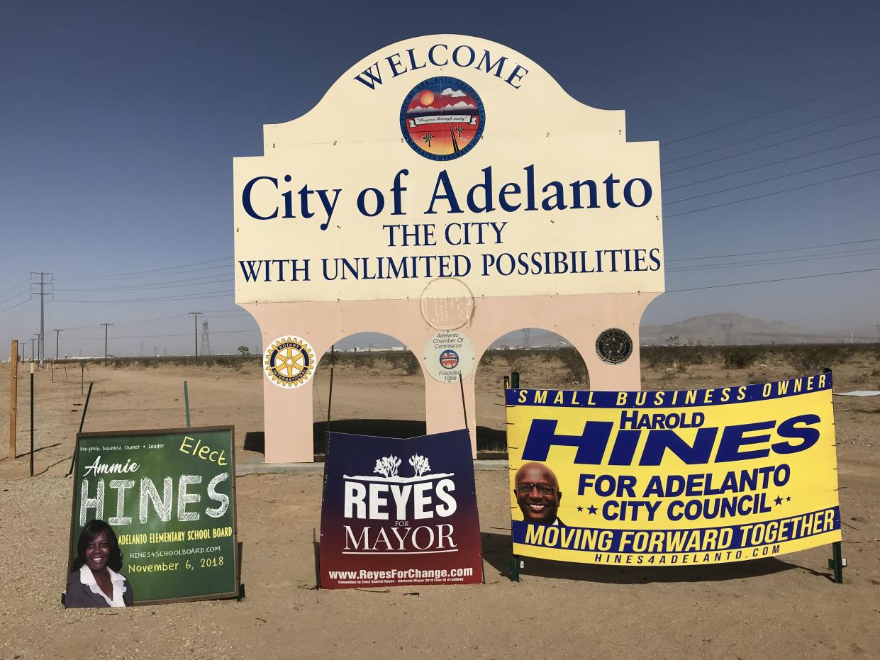 The welcome sign to Adelanto (Photo: Ken Silverstein for Yahoo News)