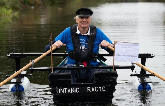 Michael Stanley, also known as 'Major Mick', sets off from Hunston, West Sussex, to row along the Chichester canal