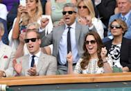 <p>Cheering on fellow Brit Andy Murray in the finals.</p>