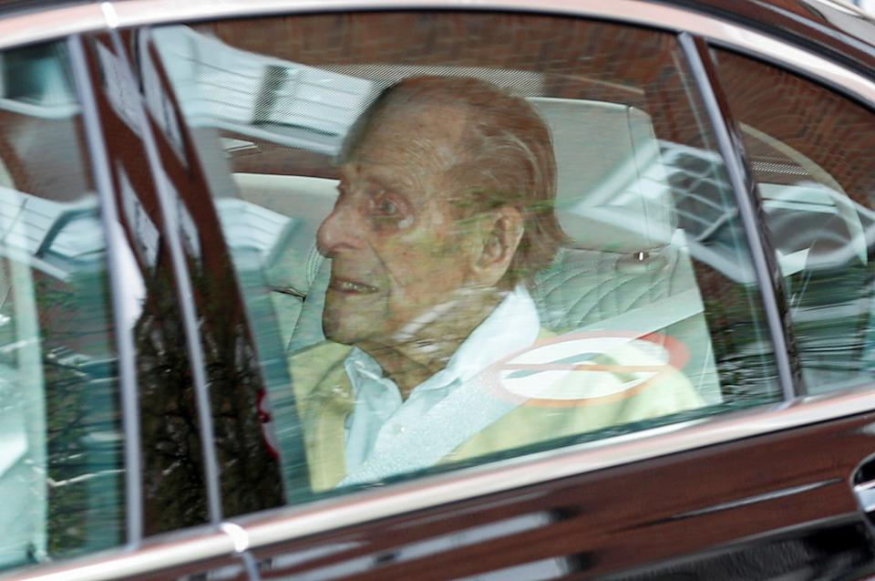 Britain's Prince Philip leaves King Edward VII's Hospital in London, Britain March 16, 2021. REUTERS/Peter Cziborra     TPX IMAGES OF THE DAY