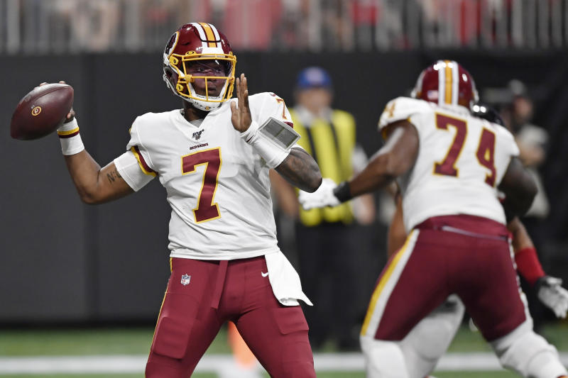 Rookie Haskins leads Redskins past fumbling Falcons, 19-7