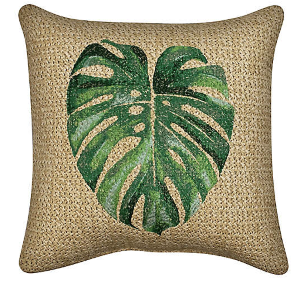 W Home Raffia Palm Leaf Indoor/Outdoor Square Thow Pillow (Photo via Bed Bath & Beyond)