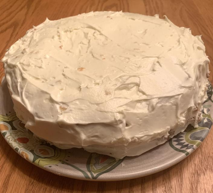 My first-ever made-from-scratch coconut cake, which I baked with my daughter while quarantining during the pandemic.