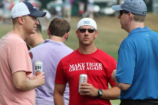 """This """"Make Tiger Great Again"""" shirt caused a stir at the PGA Championship. (Keith Leventhal/Golf News Net)"""