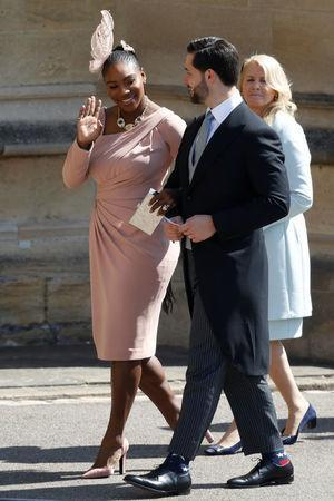 Meghan Markle's friend, US tennis player Serena Williams (L) and her husband US entrepreneur Alexis Ohanian (R) arrive for the wedding ceremony of Britain's Prince Harry, Duke of Sussex and US actress Meghan Markle at St George's Chapel, Windsor Castle, in Windsor, on May 19, 2018. Odd ANDERSEN/Pool via REUTERS