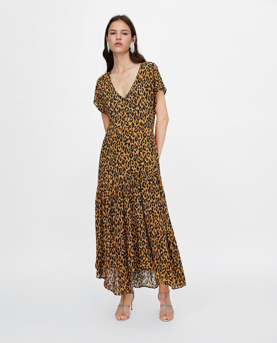 The model looks sad, which is confusing because her dress is actually perfect. Available in sizes XS to L.