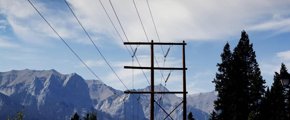 Utilities pole in the mountains in Alberta.