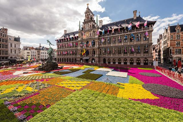 """<p>Antwerp's Baroque 2018 celebration will feature """"Flemish Masters along with modern talent in a calendar that spans parades, concerts, street art, multimedia shows and workshops."""" Stunning architecutre and historic walking areas the like Grote Markt van Antwerpen are major attractions for travellers. <br>(AP Photo/Geert Vanden Wijngaert) </p>"""