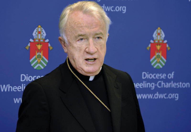 A 2015 photo shows West Virginia Bishop Michael J. Bransfield, bishop of the Roman Catholic Diocese of Wheeling Charleston. Pope Francis accepted the resignation of West Virginia Bishop Michael J. Bransfield, Thursday, Sept. 13, 2018, and authorized an investigation into allegations he sexually harassed adults. (Scott McCloskey/The Intelligencer via AP)