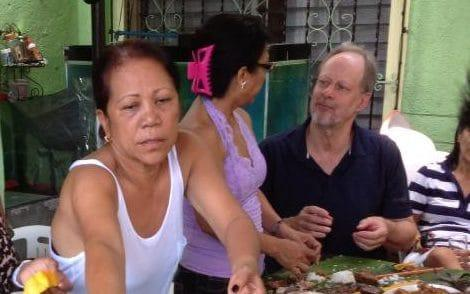 Marilou Danley, left, during a trip to the Philippines in 2013 with Stephen Paddock, far right, the gunman responsible for 58 deaths in Las Vegas - Facebook