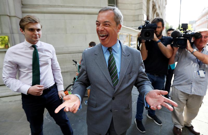 <strong>Nigel Farage, seen above earlier this year, has celebrated the return of the blue British passport</strong> (Peter Nicholls / Reuters)