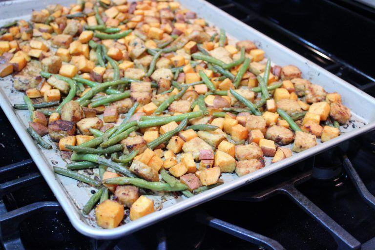 """<p>This spicy, protein-packed dish packs major flavor for little clean-up.</p><p><a class=""""link rapid-noclick-resp"""" href=""""https://kellyjonesnutrition.com/sheet-pan-miso-ginger-tempeh/"""" rel=""""nofollow noopener"""" target=""""_blank"""" data-ylk=""""slk:GET THE RECIPE"""">GET THE RECIPE</a> </p><p><em>Per serving: 430 calories, 14 g fat (2 g saturated), 440 mg sodium, 54 g carbs, 17 g fiber, 15 g sugar, 28 g protein</em></p>"""