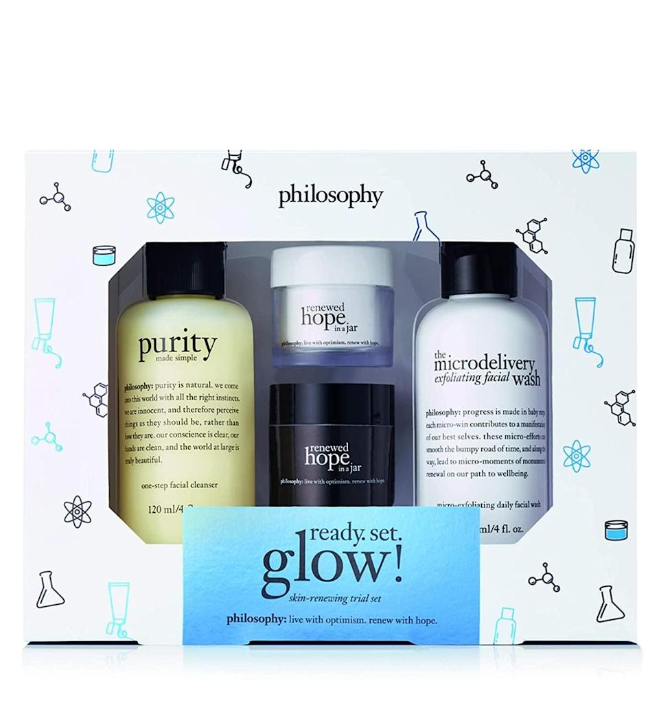 <p>Glow all winter long with the <span>Philosophy Renewed Hope Ready. Set. Glow! Set</span> ($45).</p>