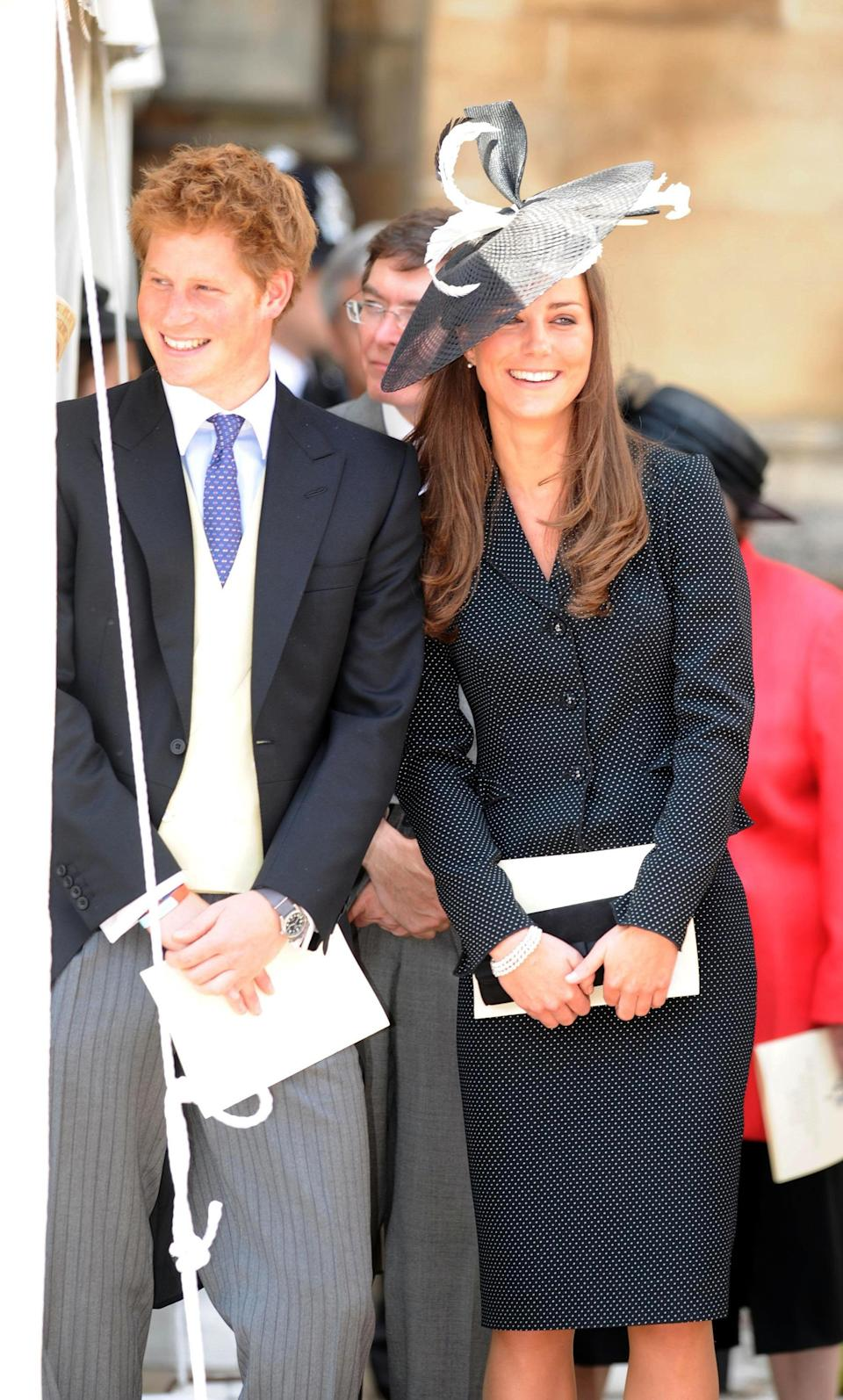Prince Harry and Kate Middleton have always had a good friendship, displayed here during the order of the Garter service held at St George's Chapel in the grounds of Windsor Castle in 2008. (PA images)