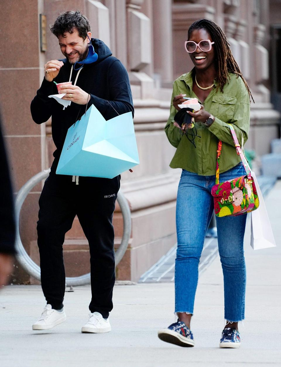 <p>Joshua Jackson and Jodie Turner-Smith share a laugh and a sweet treat on Monday in N.Y.C.</p>