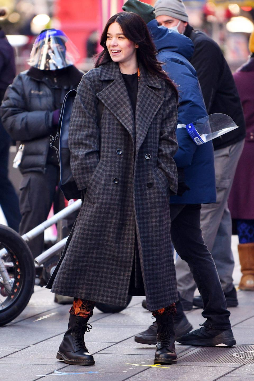 <p>Hailee Steinfeld films in Times Square, N.Y.C. on Monday for <em>Hawkeye</em>. </p>