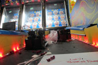 The internal components of a basketball-shooting game waiting to be installed at the soon-to-open Lucky Snake arcade, Wednesday, April 21, 2021, at the former Showboat casino in Atlantic City, N.J. Philadelphia developer Bart Blatstein is spending nearly $130 million on attractions at the former Atlantic City casino including an indoor water park; a retractible domed concert hall, a beer garden and a Boardwalk sun deck to increase family entertainment options in Atlantic City. (AP Photo/Wayne Parry)