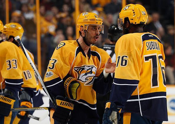 """<a class=""""link rapid-noclick-resp"""" href=""""/nhl/players/1933/"""" data-ylk=""""slk:Mike Ribeiro"""">Mike Ribeiro</a> talks with <a class=""""link rapid-noclick-resp"""" href=""""/nhl/players/4558/"""" data-ylk=""""slk:P.K. Subban"""">P.K. Subban</a> of the <a class=""""link rapid-noclick-resp"""" href=""""/nhl/teams/nas/"""" data-ylk=""""slk:Nashville Predators"""">Nashville Predators</a> after a whistle against the <a class=""""link rapid-noclick-resp"""" href=""""/nhl/teams/buf/"""" data-ylk=""""slk:Buffalo Sabres"""">Buffalo Sabres</a> during an NHL game at Bridgestone Arena on January 24, 2017 in Nashville, Tennessee. (Getty Images)"""