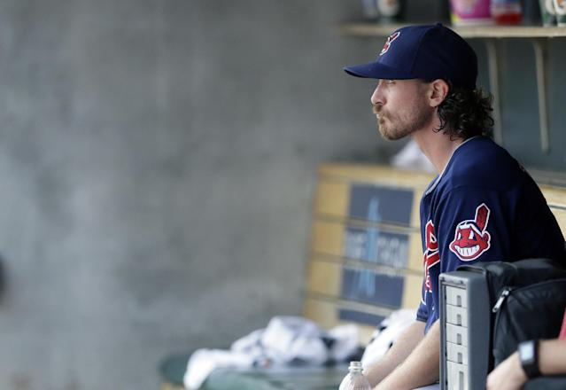 Cleveland Indians starting pitcher Josh Tomlin sits in the dugout after being relieved during the fifth inning of a baseball game against the Detroit Tigers, Sunday, July 20, 2014 in Detroit. (AP Photo/Carlos Osorio)