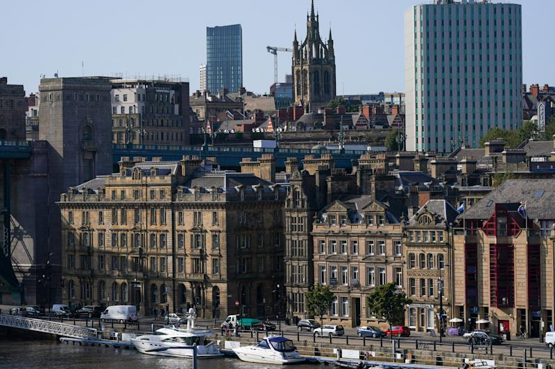 NEWCASTLE UPON TYNE, ENGLAND - SEPTEMBER 17: General view of Newcastle on September 17, 2020 in Newcastle upon Tyne, England. Almost two million people in north-east England will be banned from mixing with other households and pubs will close early as coronavirus cases rise. Health Secretary Matt Hancock announced the temporary restrictions will be in place from midnight due to concerning rates of infection. The measures affect seven council areas, Newcastle, Northumberland, North Tyneside, South Tyneside, Gateshead, County Durham and Sunderland. (Photo by Ian Forsyth/Getty Images)