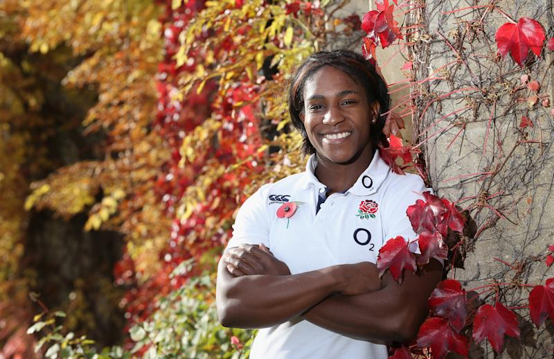 BAGSHOT, ENGLAND - NOVEMBER 05: Maggie Alphonsi, who will play for England Women against France on Saturday, poses during the England media session held at Pennyhill Park on November 5, 2013 in Bagshot, England. (Photo by David Rogers/Getty Images)