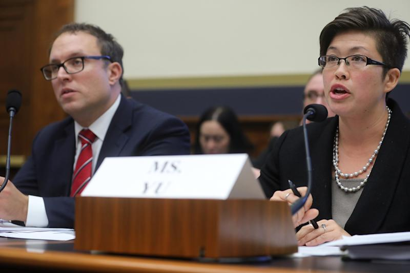 Student Borrower Protection Center Executive Director Seth Frotman and National Consumer Law Center Staff Attorney Persis Yu testify during a House Financial Services Committee hearing on student debt and student loan servicers, on Capitol Hill in Washington, U.S. September 10, 2019. REUTERS/Jonathan Ernst
