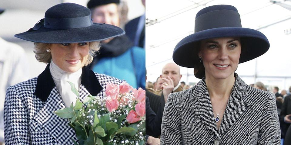 <p>Diana in an Alistair Blair-designed outfit and Milliner Philip Somerville-designed hat during a visit to Munich, Germany, in 1987; Kate in a Michael Kors coat dress during a service of commemoration in London in 2017.</p>