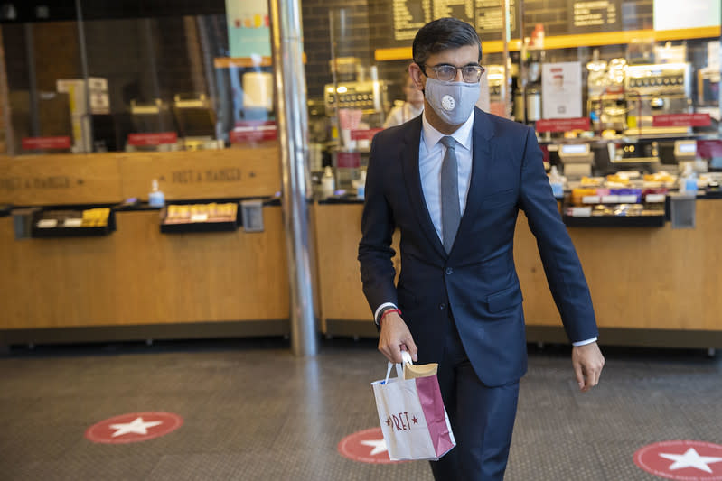 The Chancellor Rishi Sunak visits a Pret A Manger in Westminster to buy himself a hot lunch