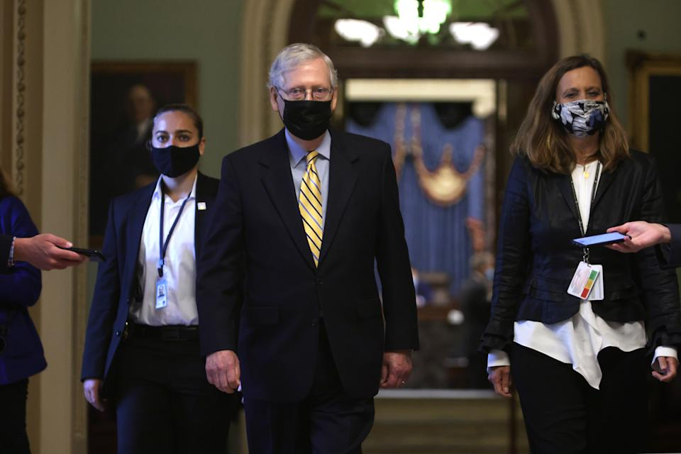 WASHINGTON, DC - SEPTEMBER 10: U.S. Senate Majority Leader Sen. Mitch McConnell (R-KY) leaves the Senate chamber after a vote at the U.S. Capitol September 10, 2020 in Washington, DC. The Senate has failed to pass a procedural vote for a Republican proposed coronavirus relief package.  (Photo by Alex Wong/Getty Images)