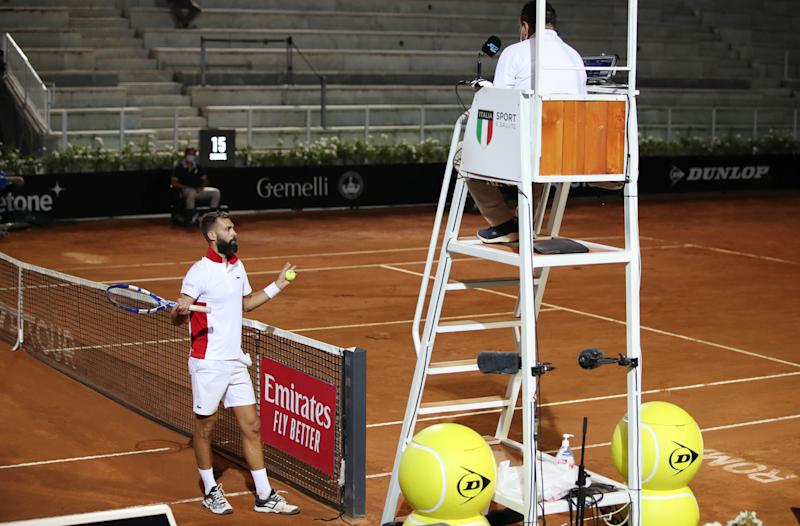 Benoit Paire reacts to the umpire in the second set of his round one match against Jannik Sinner of Italy during day one of the Internazionali BNL D'Italia.