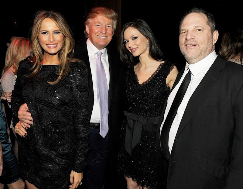 President Donald Trump (second from left) with his wife, First Lady Melania Trump (left) and Harvey Weinstein and Weinstein's then-wife, Georgina Chapman, (right) in 2009 | Stephen Lovekin/Getty