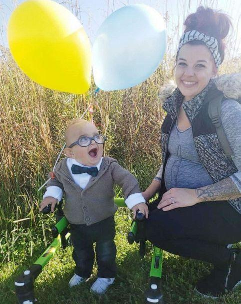 PHOTO: Brantley Morse, 2, smiles at his mother, Brittany Morse, while dressed as Carl from the Pixar film, 'Up,' at a fall festival in Ohio, October 2019. (Courtesy Brittany Morse)