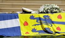 <p>The flowers that sat on top of the coffin, alongside His Royal Highness' Personal Standard, were chosen by the Queen. </p>