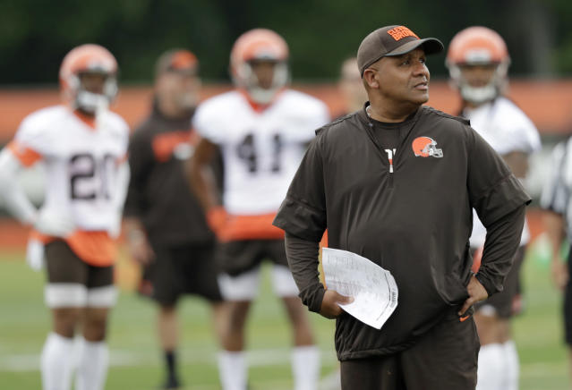 Cleveland Browns head coach Hue Jackson was upset with his team for a lack of hustle in practice. (AP)