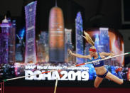 Sandi Morris, of the United States, competes during the women's pole vault qualifying round at the World Athletics Championships in Doha, Qatar, Friday, Sept. 27, 2019. (AP Photo/David J. Phillip)