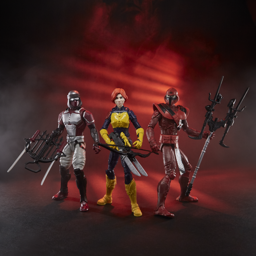 From l to r: Night Creeper, Scarlett and Red Ninja action figures from Hasbro (Photo: Hasbro)