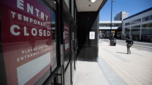 A closed entrance to a shop in downtown Ottawa April 26, 2021, during an Ontario stay-at-home order.
