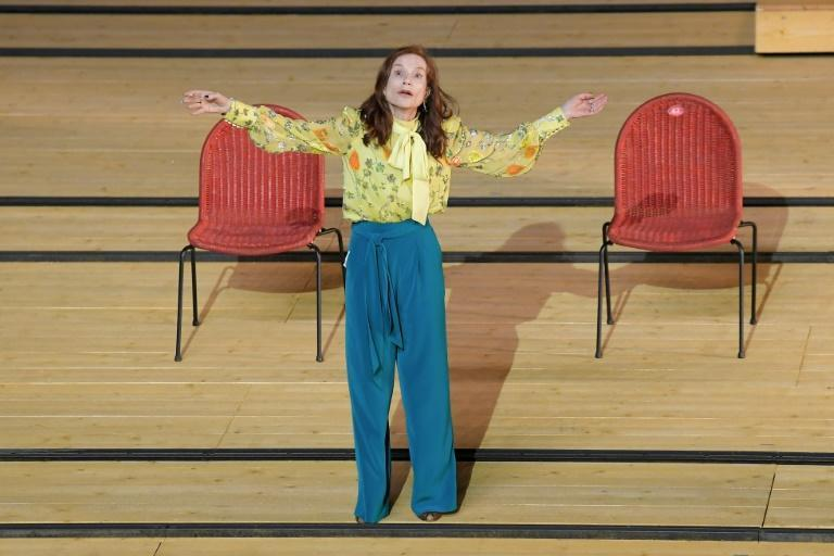 """Isabelle Huppert rehearses Tiago Rodrigues' production of """"The Cherry Orchard"""" at the Avignon theatre festival"""