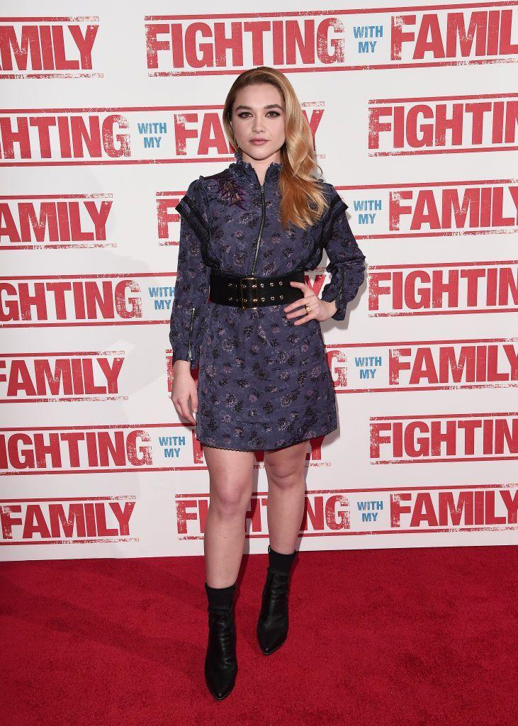 <p>The Brit wore a belted mini dress to the UK Premiere of Fighting With My Family, February 2019.</p>