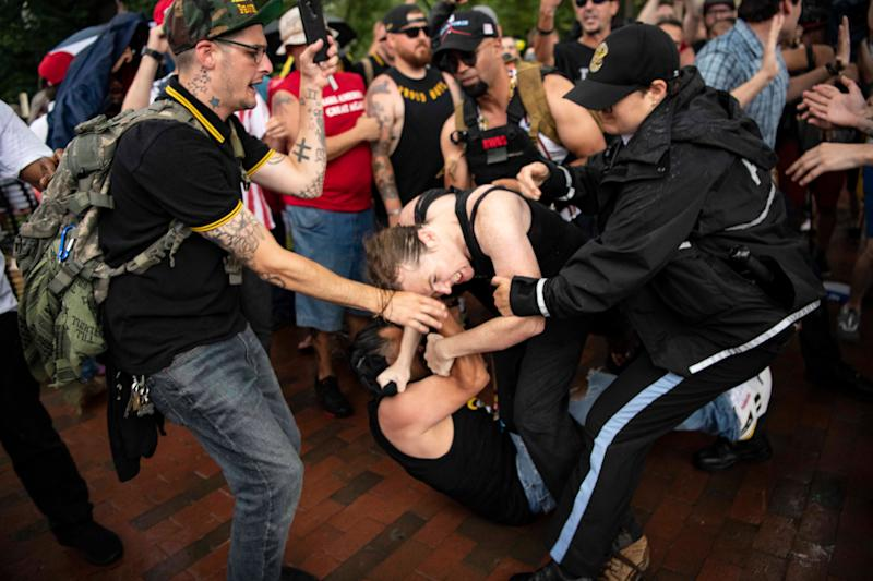 Violence broke out in front of the White House on July 4, 2019 between protesters and counter-protesters, leading to arrests ahead of President Donald Trump's speech from the steps of the Lincoln Memorial.