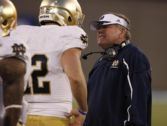 Notre Dame head coach Brian Kelly, right, confers with backup quarterback Andrew Hendrix after Hendrix was sacked against Air Force late in the fourth quarter of Notre Dame's 45-20 victory in an NCAA college football game in Air Force Academy, Colo., Saturday, Oct. 26, 2013. (AP Photo/David Zalubowski)