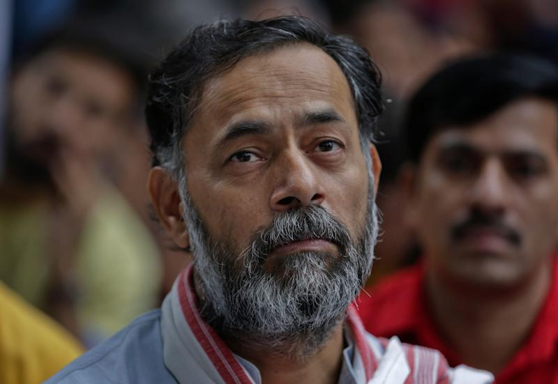Indian politician and psephologist Yogendra Yadav attends a protest gathering near the Indian parliament calling for end to deaths of workers in sewer cleaning in New Delhi, India, Tuesday, Sept.25, 2018. (AP Photo/R S Iyer)