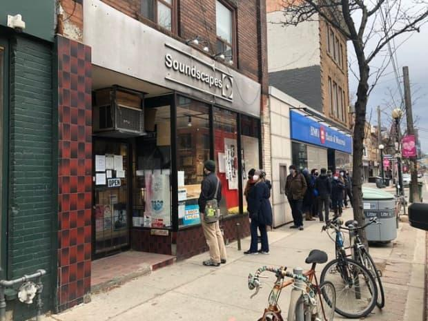 Soundscapes, located at 572 College St., drew lineups on Saturday and Sunday for itsclosing sale, whichbegan on Wednesday and will continue until the storecloses its doors on June 1. (Çetin Cem Yılmaz/Twitter - image credit)