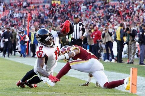 """<span><a class=""""link rapid-noclick-resp"""" href=""""/nfl/players/24793/"""" data-ylk=""""slk:Julio Jones"""">Julio Jones</a> scored a touchdown as the Falcons improved to .500 against the Redskins last week</span> <span>Credit: Joe Robbins/Getty Images </span>"""