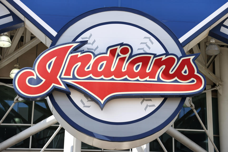 The Cleveland Indians team logo on the main sign outside Progressive Field.