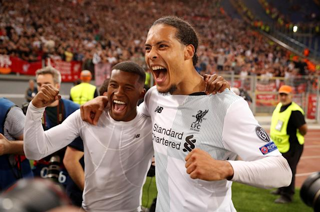 Soccer Football - Champions League Semi Final Second Leg - AS Roma v Liverpool - Stadio Olimpico, Rome, Italy - May 2, 2018 Liverpool's Virgil van Dijk and Georginio Wijnaldum celebrate after the match Action Images via Reuters/John Sibley