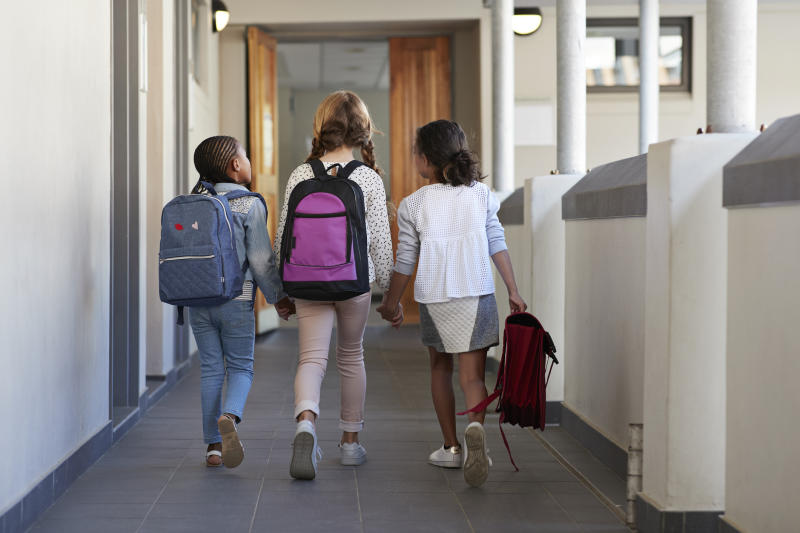 Pictured a three young girls walking together in a school hallway.